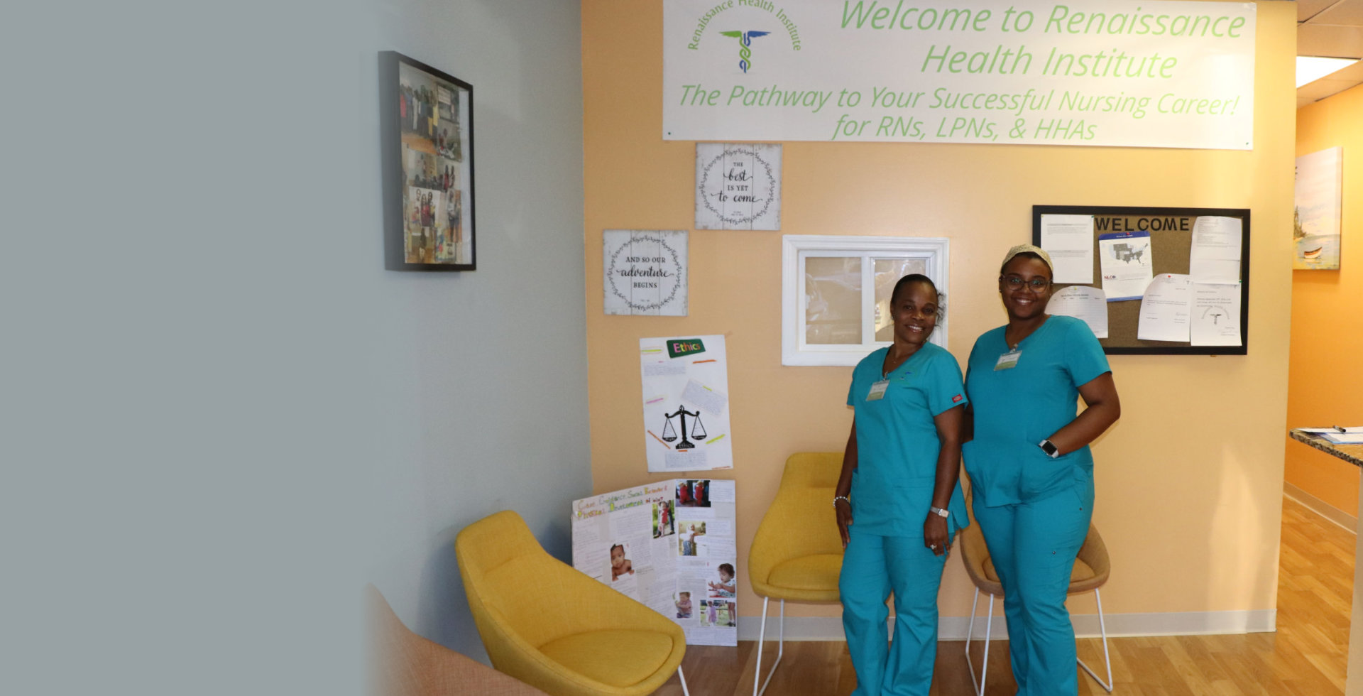 two nurse smiling